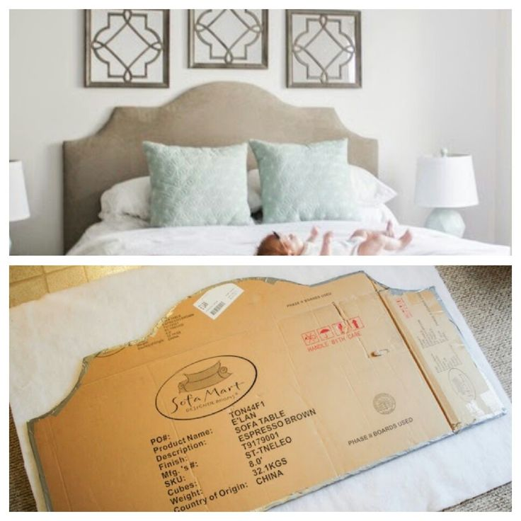 Cardboard cut out headboard. Measure width and height of bed. Draw shape using household objects as a guide (ruler, bowl, top of mirror, etc). Double cardboard, put together with duct tape. Cover with batting, secure with staple gun, then cover  with fabric, staple on. Finish with upholstery tacks (Decotacks) if desired.
