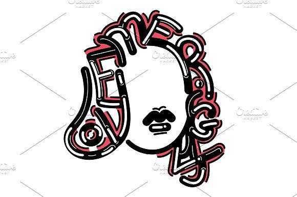 Girl typography illustration by TSAPLYA on @creativemarket #lettering #graphic #design #creative #market #typography #calligraphy #illustration #creativemarket