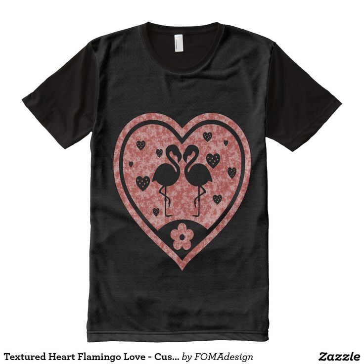 Textured Heart Flamingo Love - Custom Background Color / All-Over Print T-shirt #fomadesign