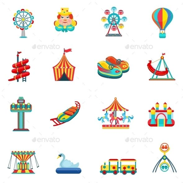 Amusement Park Icons Set — Vector EPS #network #marketing • Available here …Nichanun Noppamas