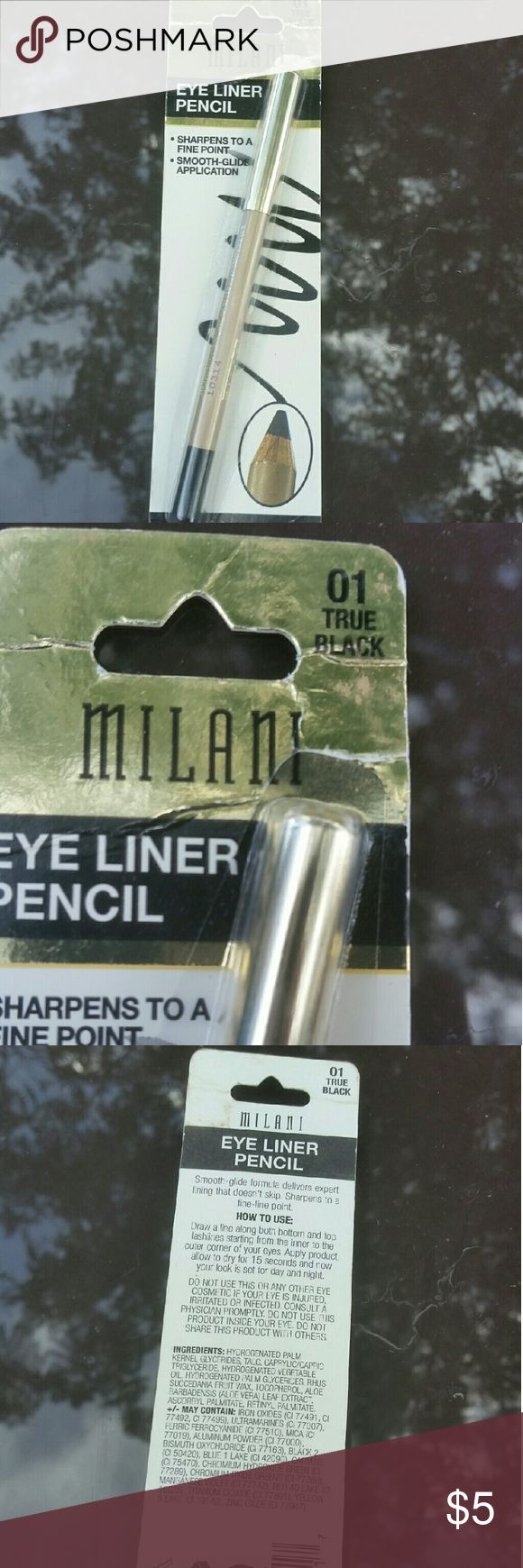 *LAST CHANCE* MILANI EYELINER PENCIL *NEW IN PACKAGING  *I USE THE BROWN ONE INSTEAD  *THEY HAVE GREAT PIGMENTATION   FYI: I AM A CERTIFIED/FREELANCE MAKEUP ARTIST, SO ANY MAKEUP PRODUCTS I SALE THAT HAVE BEEN USED I MAKE SURE TO STERILIZE BEFORE SELLING Milani Makeup Eyeliner