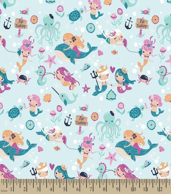 Pretty Mermaids Print Fabric-Minky Velboa