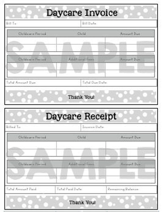 Invoice Receipt Daycare Resource Printable Polka Dot Form Etsy Starting A Daycare Home Daycare Childcare Business
