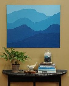 "Bring a scenic landscape indoors with this easy and inexpensive mountain artwork project from craft blogger Meg Allan Cole, as seen on ""The Martha Stewart Show."": Diy Mountain, Marthastewart, Mountain Paintings, Easy Painting, Martha Stewart Crafts, Diy Craft, Ombre Mountain, Landscape Indoors"