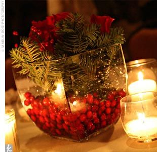 Simple Christmas centerpieces...