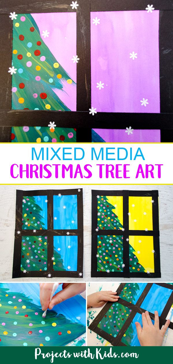 Mixed Media Christmas Tree Art Project