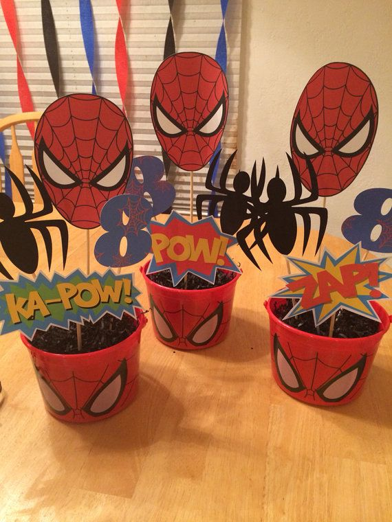 Spiderman centerpiece picks by Verycraftymommy2 on Etsy