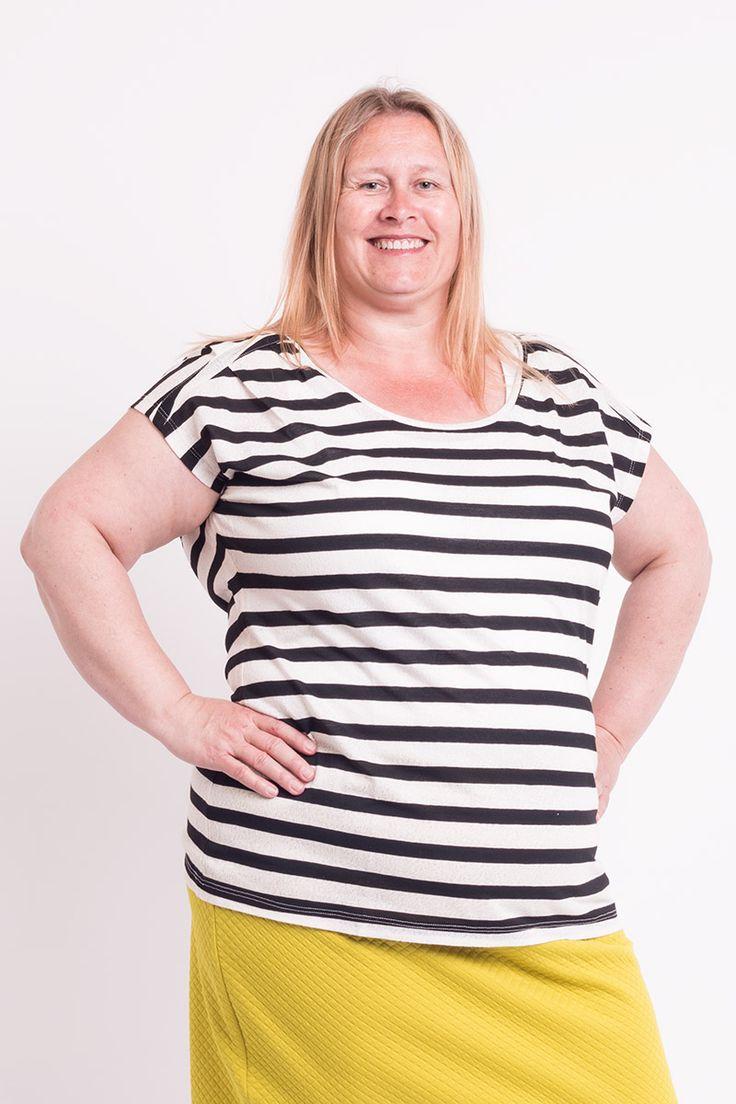 Fede Kortærmet bluse med sorte og lyse striber Yest Modetøj til Damer i behagelige materialer