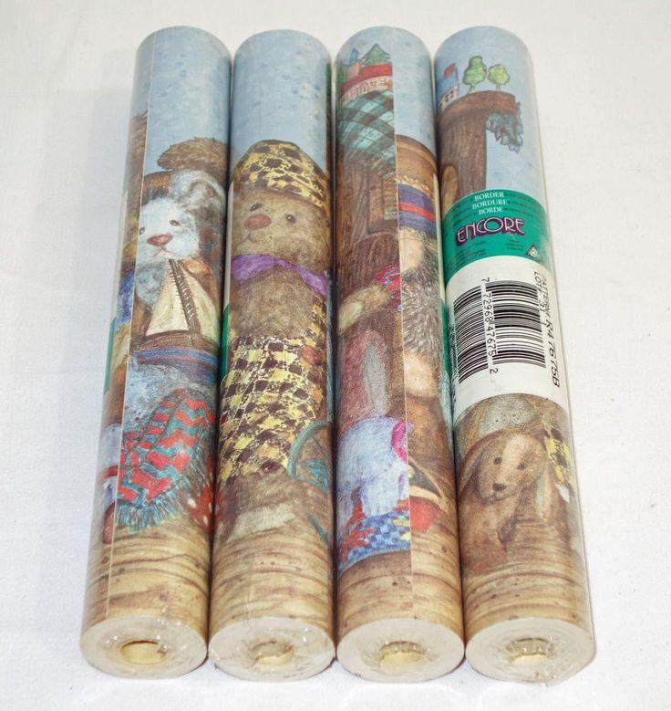 Teddy Bear Nursery Border Wallpaper by Encore - 4 Sealed Rolls - R47675B - Rare