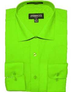 Find the best deal on men's slim fit apple green dress shirt.