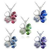 18K Gold Plated Swarovski Elements Crystal Four Leaf Clover Pendant Necklace, 18 inches
