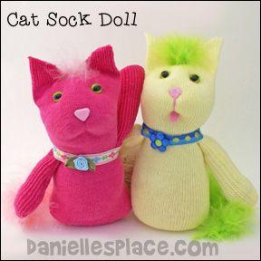 Cat Sock Dolls Craft from www.daniellesplace.com