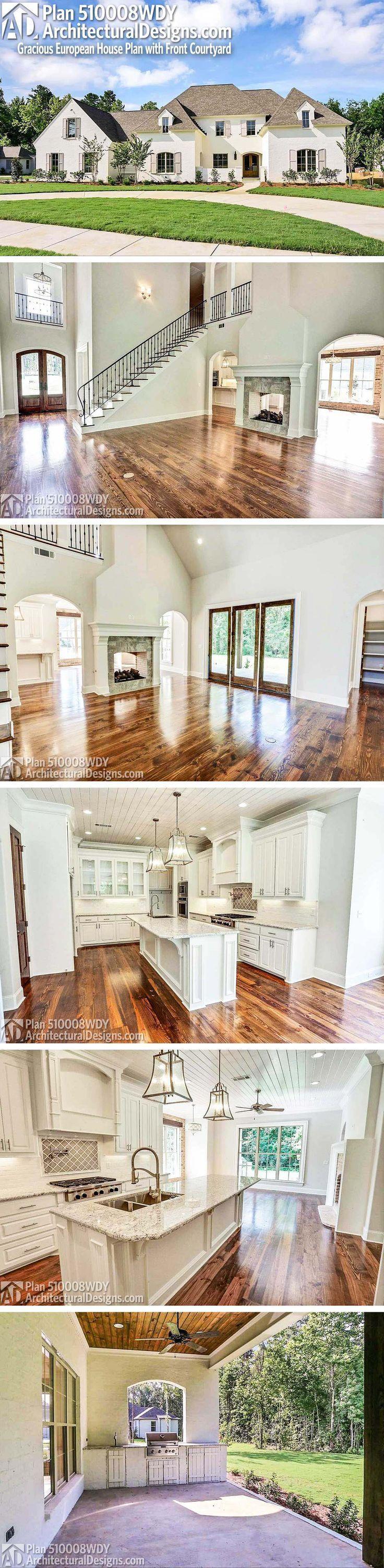Architektonische Entwürfe Southern House Plan 510006WDY. Es hat Veranden vorne und hinten mit einer Außenküche bedeckt. 5 Betten und über 3.600 Qu…