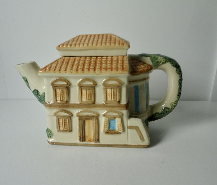 1983 House of KATAYAMA Ceramic Mediterranean Cottage Shaped Ceramic Teapot. Free Sh. by Cosasraras on Etsy