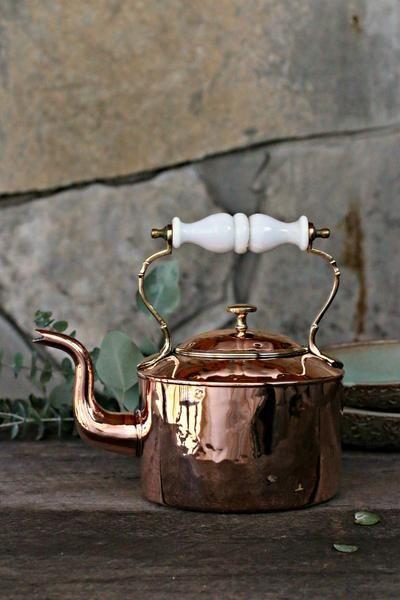 Vintage Copper Tea Kettle with Porcelain Handle c. 1850