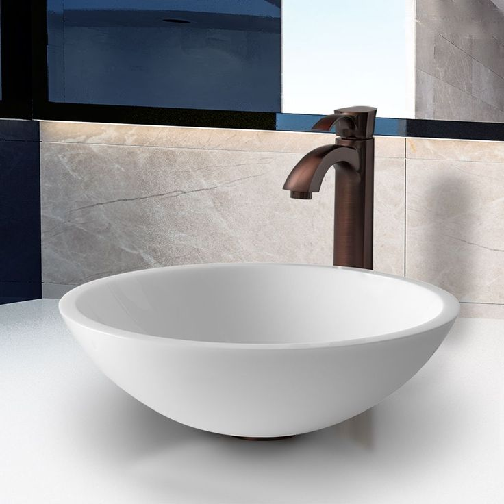 Vigo Flat Edged Phoenix Stone Glass Vessel Sink with Oil Rubbed Bronze Faucet