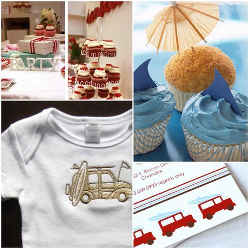 Vintage surfer baby shower for a boy - use the vintage suv/surfer photo instead of the red truck