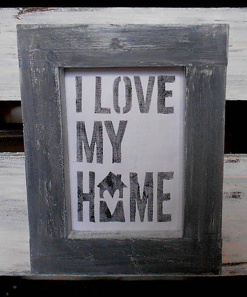 OriginalHomeBySasha / VINTAGE RÁMIK S OBRÁZKOM i love my home