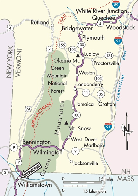 Appalachian Trail: White River Junction, Vermont to Williamstown, Massachusetts map