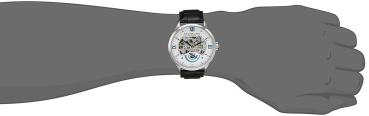 Stuhrling Original Men's 574.01 Executive II Automatic Skeleton Watch With Black Leather Band. Round watch in polished stainless steel with skeleton dial, croco-embossed leather band, and double arc seconds subdial. Automatic self-wind movement with analog display - This watch is powered by the motion of the wearer's wrist. For first time wear the crown must be turned clockwise about 20-30 full turns. If the watch is not worn for 8 or more hours per day, it will work slower than usual or...