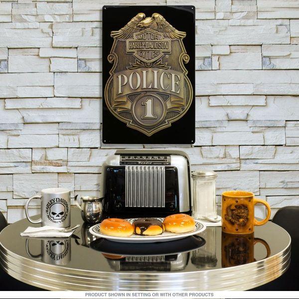 Harley-Davidson Police Shield Badge Garage Sign - Retro Planet