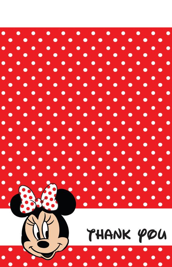 Red Minnie Mouse Thank You Cards 15 by ASweetCelebration ...