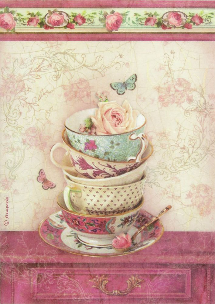 Ricepaper / Decoupage paper, Scrapbooking Sheets Small Cup and Butterfly