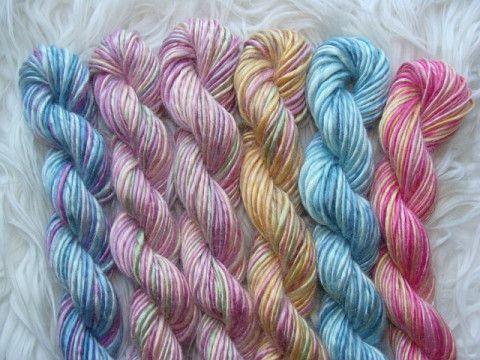 bamboo handspun yarn, multiple colors, blue bamboo yarn, pink bamboo yarn, orange bamboo yarn