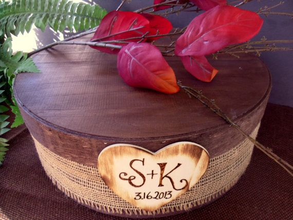 Cake Stand for Rustic Wedding with Burlap and by willowroaddesigns, $75.00