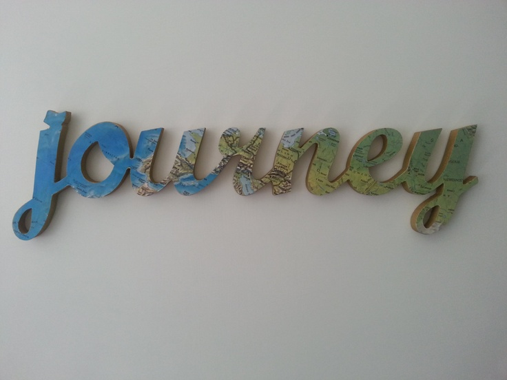Journey wooden word art - customised vintage map art decor wall hanging  ornament
