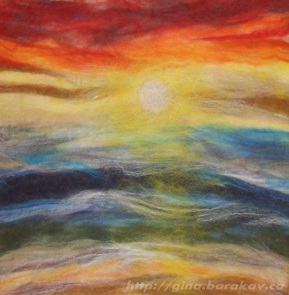Puesta de sol sobre el océano / fibra arte / pared colgante / Home Decor