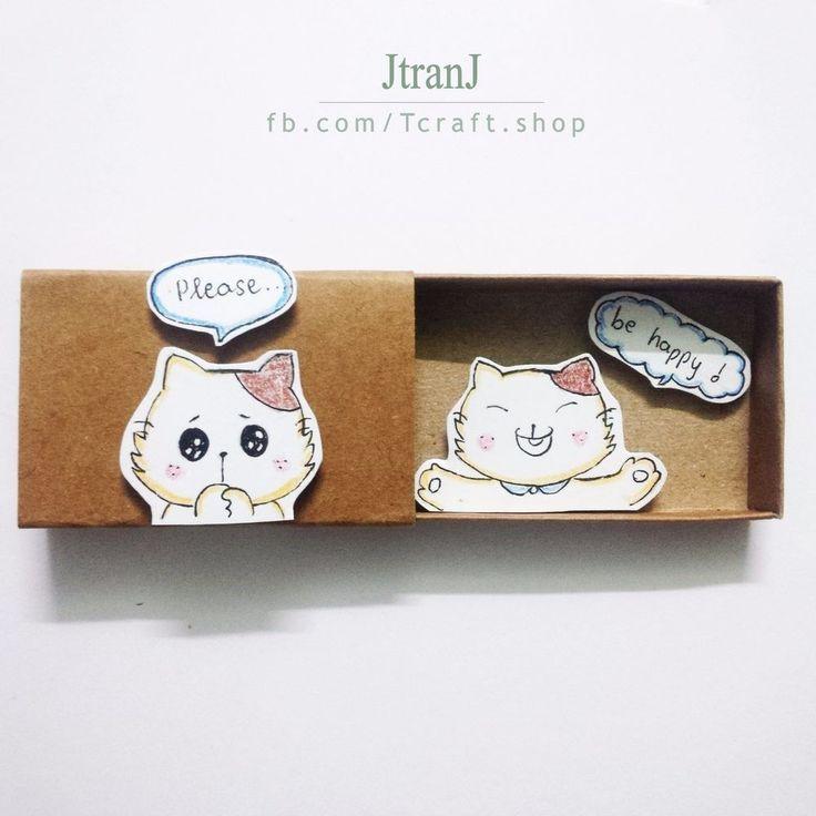 Encouragement card - Handmade Greeting Card, Matchbox Card Smiling Cat #GetWell