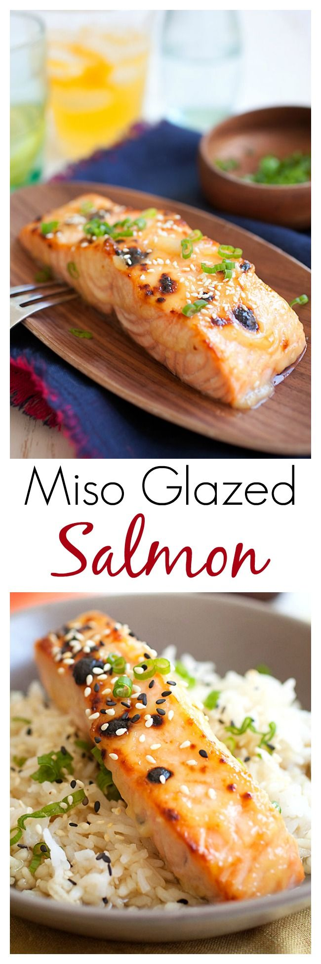 Miso-Glazed Salmon – quick and easy 3-ingredient Japanese miso glaze for the best and juiciest salmon ever. Amazing recipe that everyone loves | rasamalaysia.com