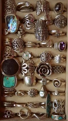 Bohemian chic silver rings