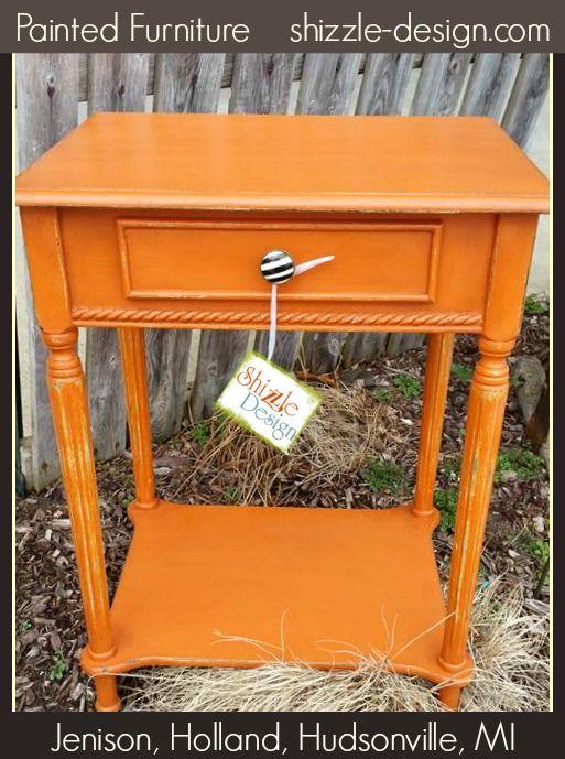 Telephone Table Painted In American Paint Companyu0027s Shag Carpet Orange  Chalk Clay Paint Shizzle Design Jenison