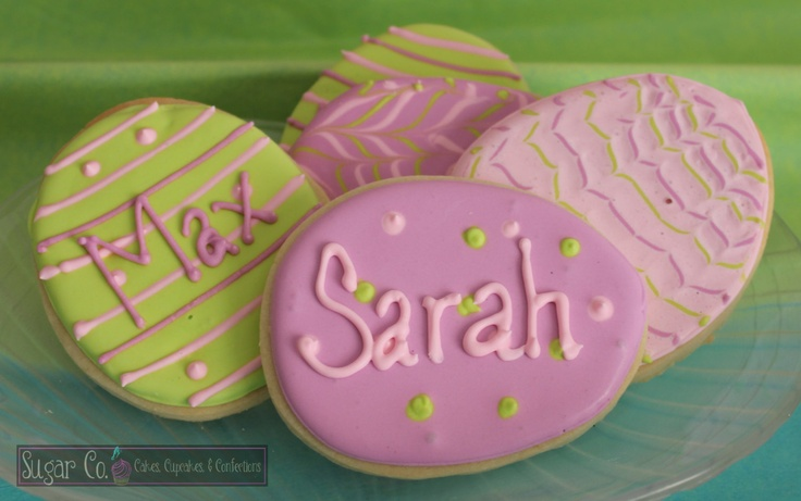 Personalized Easter Egg Sugar Cookies. $25.00, via Etsy.