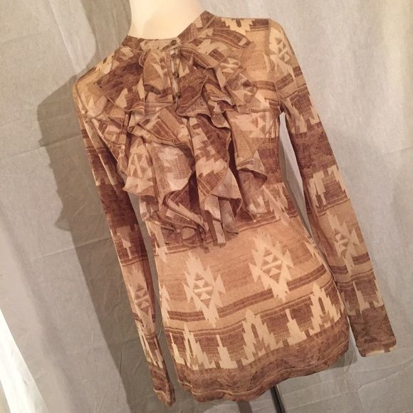 Host Pick New Ralph Lauran Top Size M. Beautiful pattern and Ruffles. New with tag. A must have! Ralph Lauren Tops