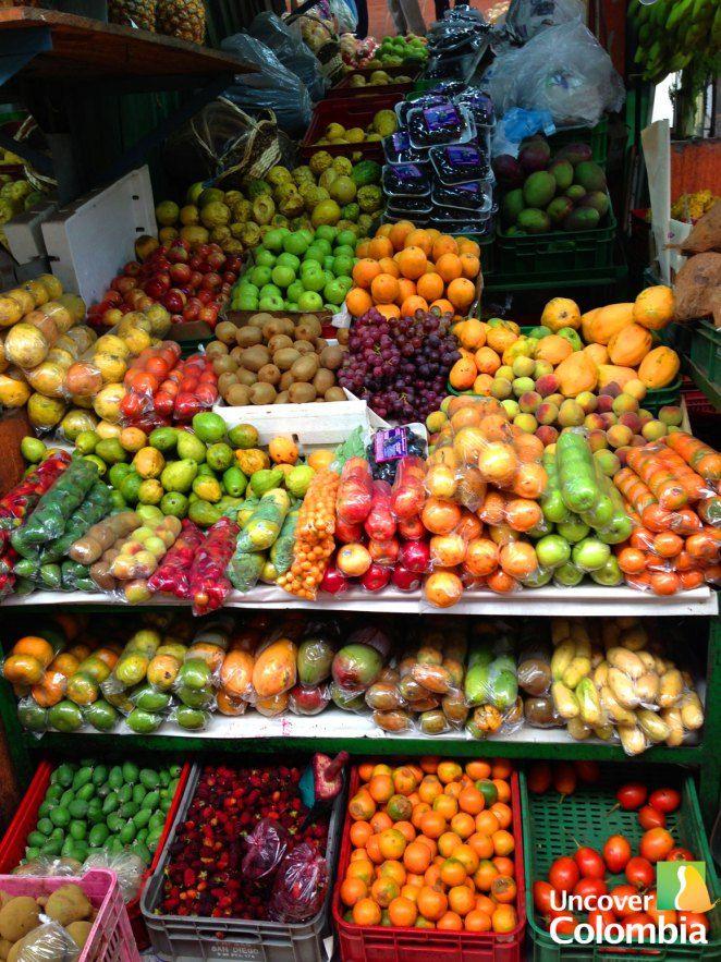 Diversity of fruits in Paloquemao Market - Bogota, Colombia