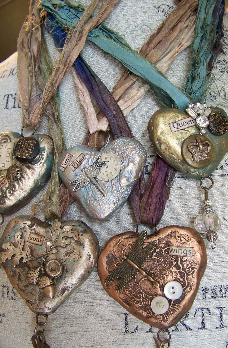 Hand Sculpted Heart Necklaces.... altered and vintage-y~