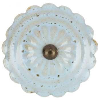 Light Blue Ceramic Medallion Knob