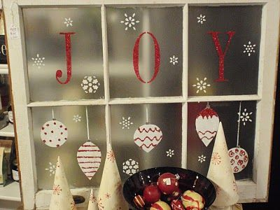 CHRISTMAS WINDOW- such a cute idea!