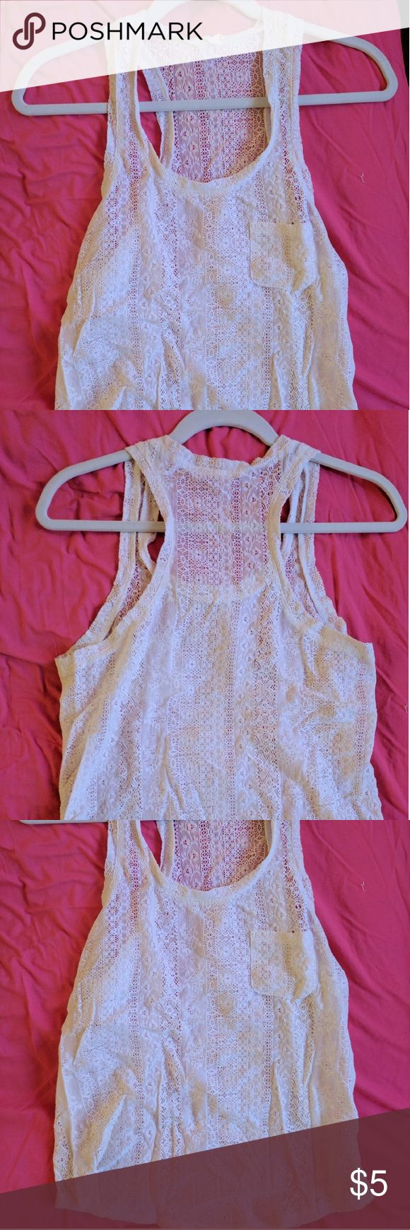 Lace tank Off-white, sheer lace tank. Great with a bandeau or over a colored cami or tank Tops Tank Tops