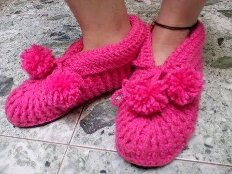 Babuchas para Adulto En Crochet - YouTube