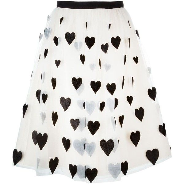 Alice+Olivia Heart Patch Tulle Skirt ($741) ❤ liked on Polyvore featuring skirts, patch skirt, white tulle skirt, tulle skirt, white knee length skirt and alice + olivia
