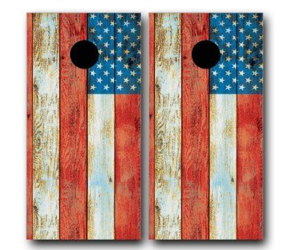 $44.90; Vinyl Wrap Set DISTRESSED AMERICAN USA FLAG CORNHOLE WRAP SET High Quality Vinyl Board DECAL Baggo Bag Toss Boards * MADE IN the USA *