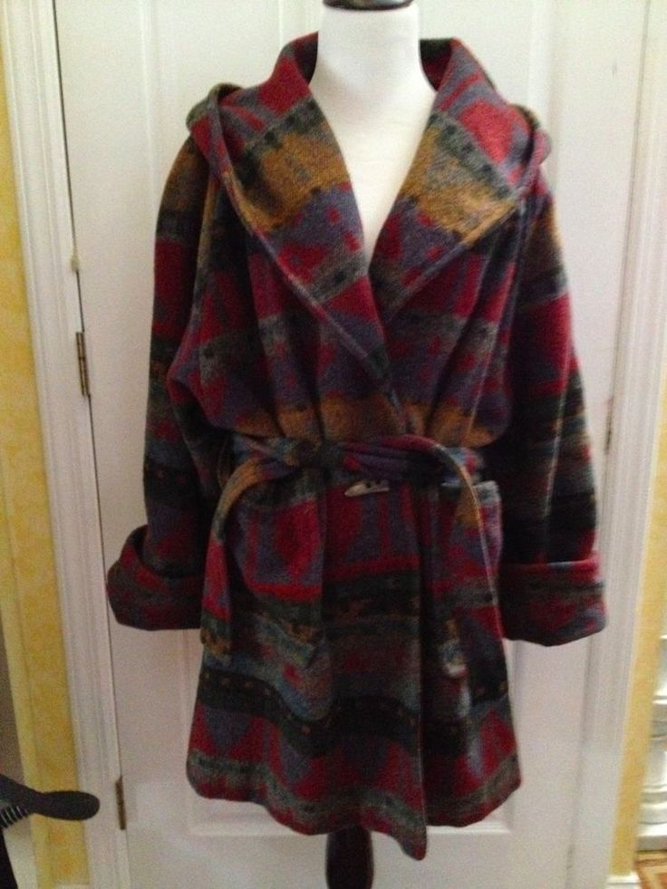 SYNERGY GROUP Vintage Pure Wool Wrap Native American Design Trench Coat Sz M #Synergy #BasicCoat