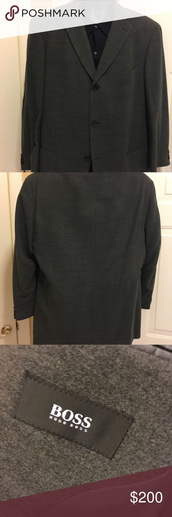 HUGO BOSS WOOL GREY SPORT COAT (EUC) Excellent Used Condition - Hugo Boss 100% Virgin Soft Wool,  3-button Sport Coat.  Regular Fit with lining for your day and leisure wear.  Two front patch pockets and interior pockets Hugo Boss Jackets & Coats