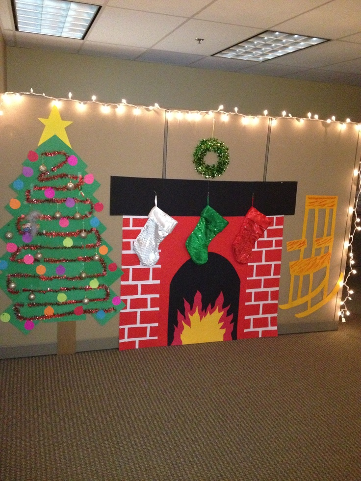 49 best office christmas images on pinterest christmas for Cubicle decoration xmas