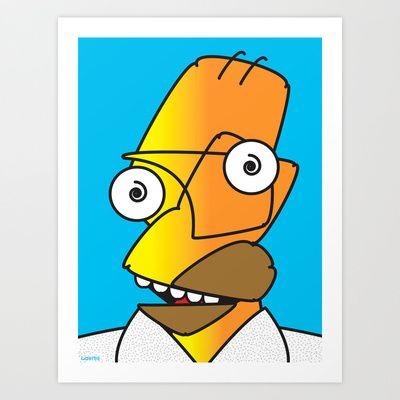 Homer Picasso by Laertis Art on Society6. #simpsons #homer #simpson #picasso #spoof #humor #funny #art #painting #illustration #print #society6