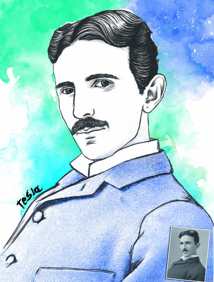 Retrato de Nikola Tesla, hecho a mano con Wacom.